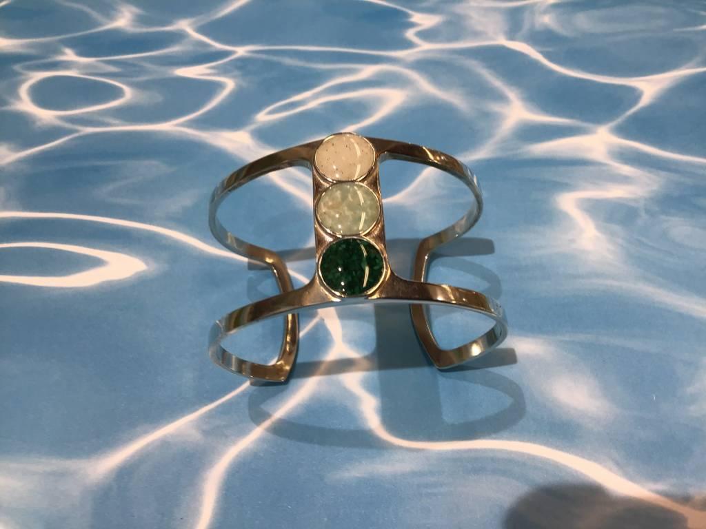 Deco Sandglobe Bracelet w/ Marco Island Sand, Amazonite & Malachite