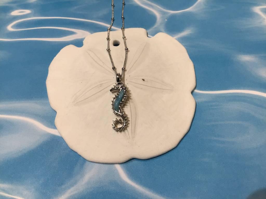 Larimar Seahorse Necklace SS