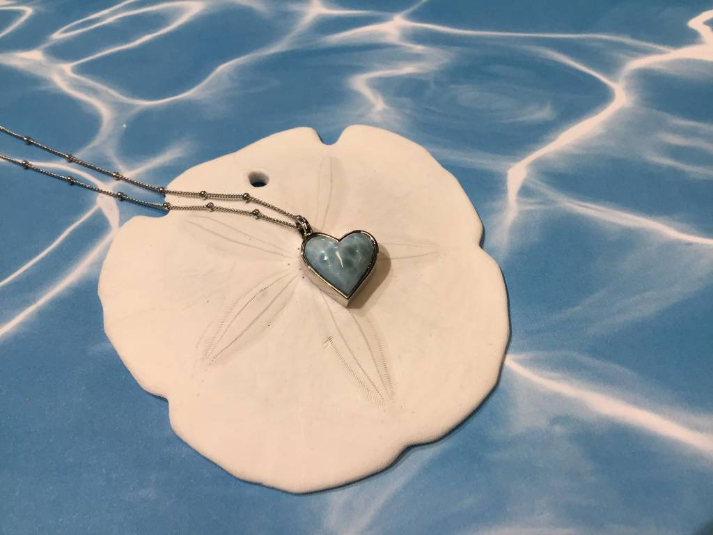"Larimar Tilted Heart Necklace SS 16-20""Adj"