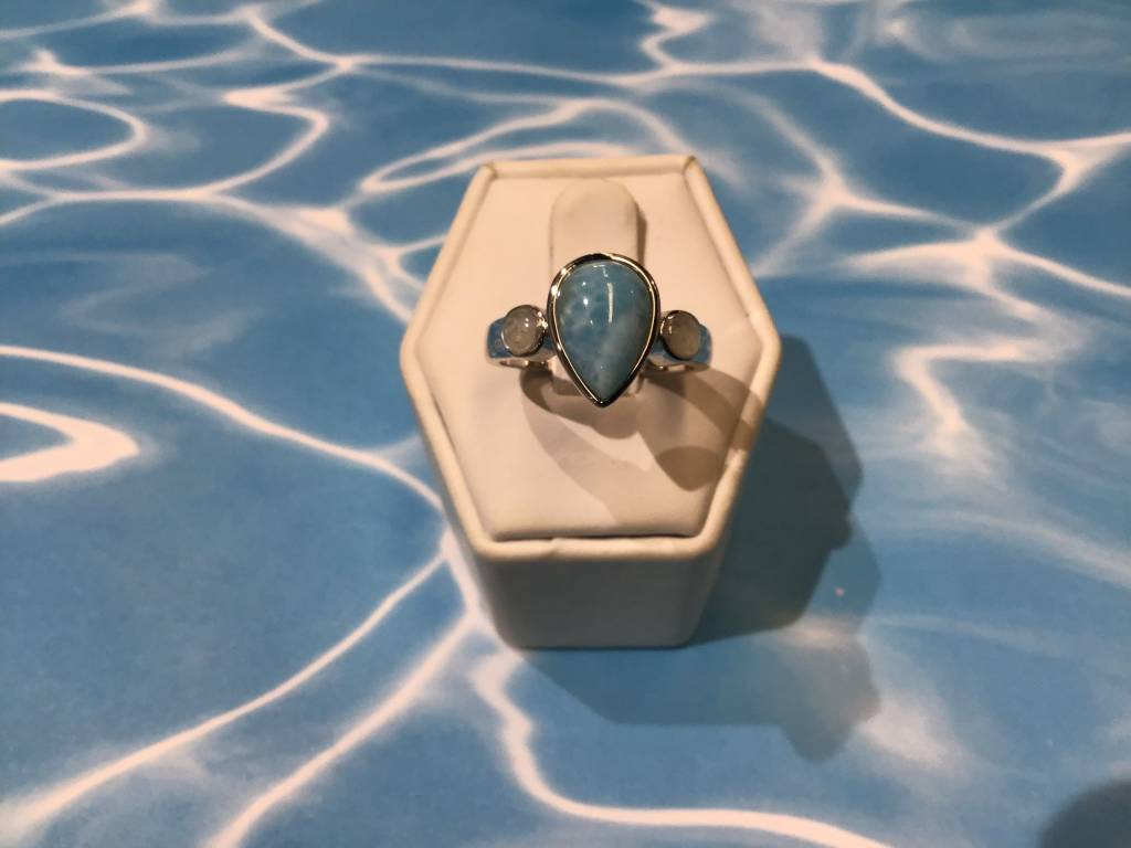 Larimar/MI  Pear cut ring 8