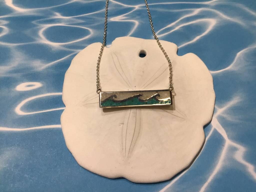 Wave bar Necklace SS MI/Turq