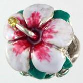 Hibiscus White Enamel SS Bead