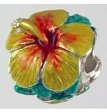 Hibiscus Yellow Enamel SS Bead