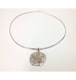 "Natural Sand Dollar Necklace SS  18"" Omega Chain"