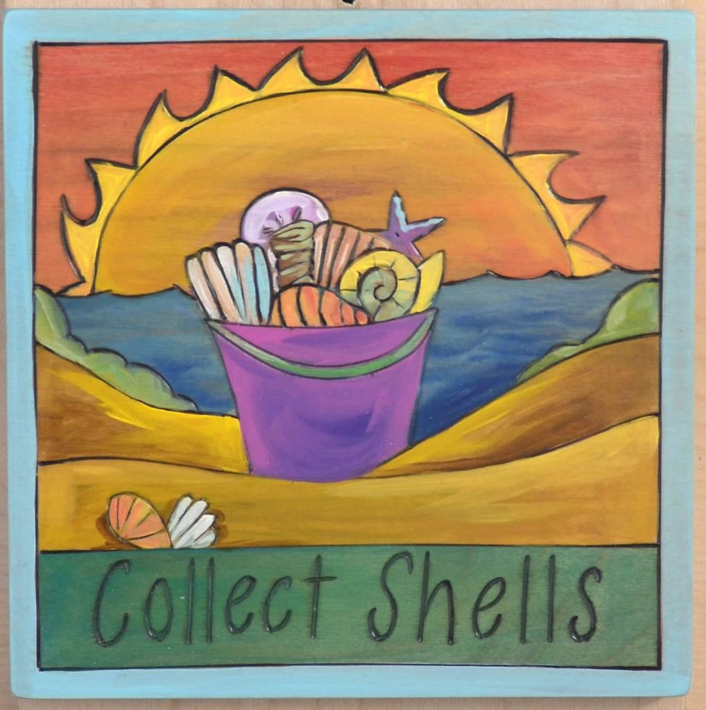 'Collect Shells' Art Plaque 7x7''