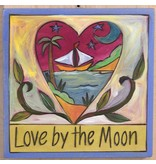 'Love by the Moon' Art Plaque 7x7""