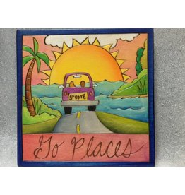 'Go Places' Art Plaque 7x7""