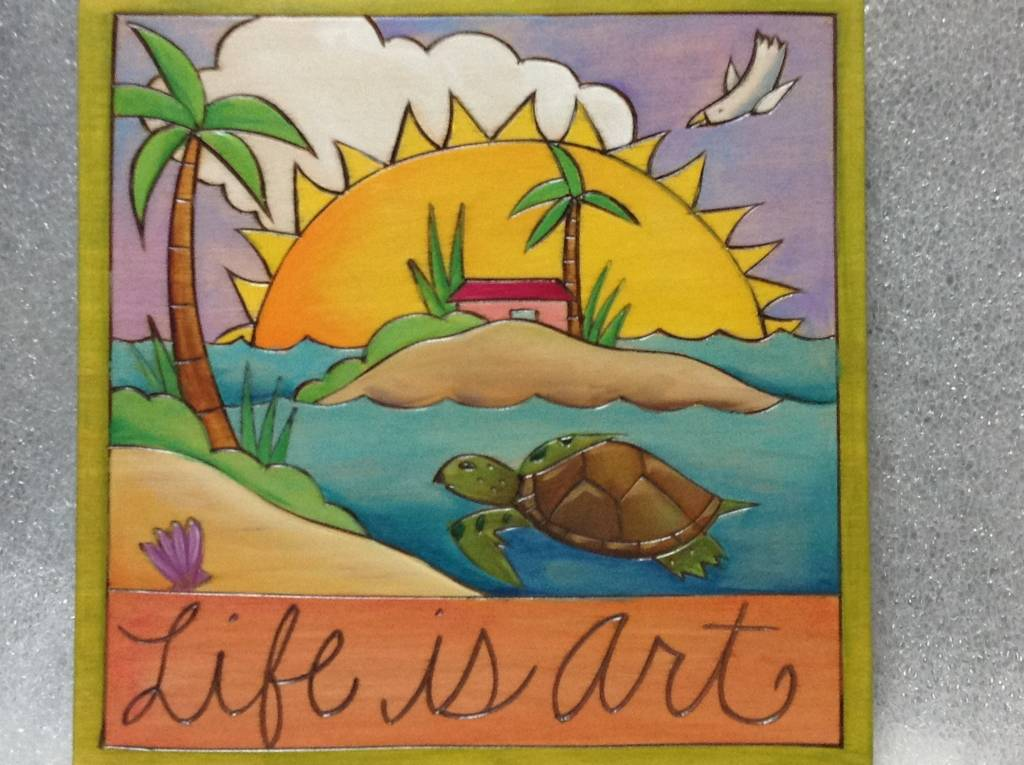 'Life is Art' Art Plaque 7x7""