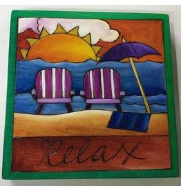 "'Relax' Art Plaque 7x7"""