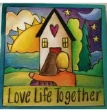 'Love Life Together 2' Art  Plaque 7x7""