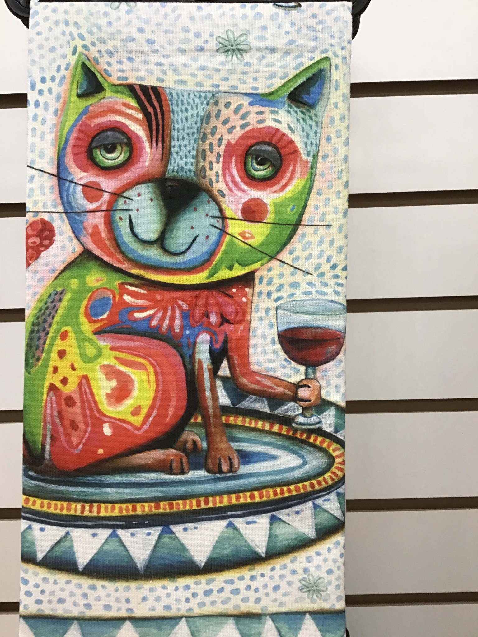 Cat Wine Tea Towel