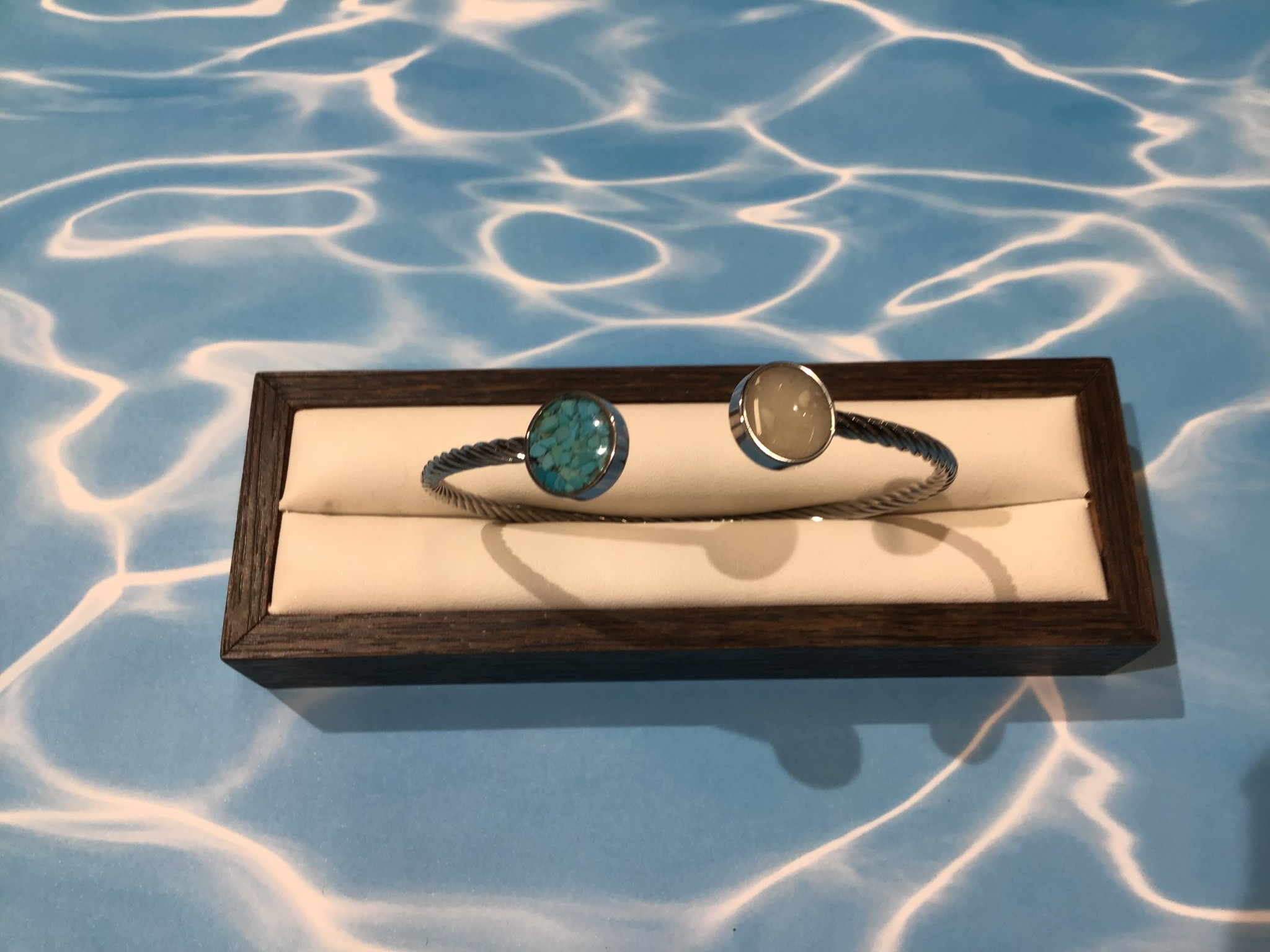 Rope Inlet Cuff Silver MI, Turquoise