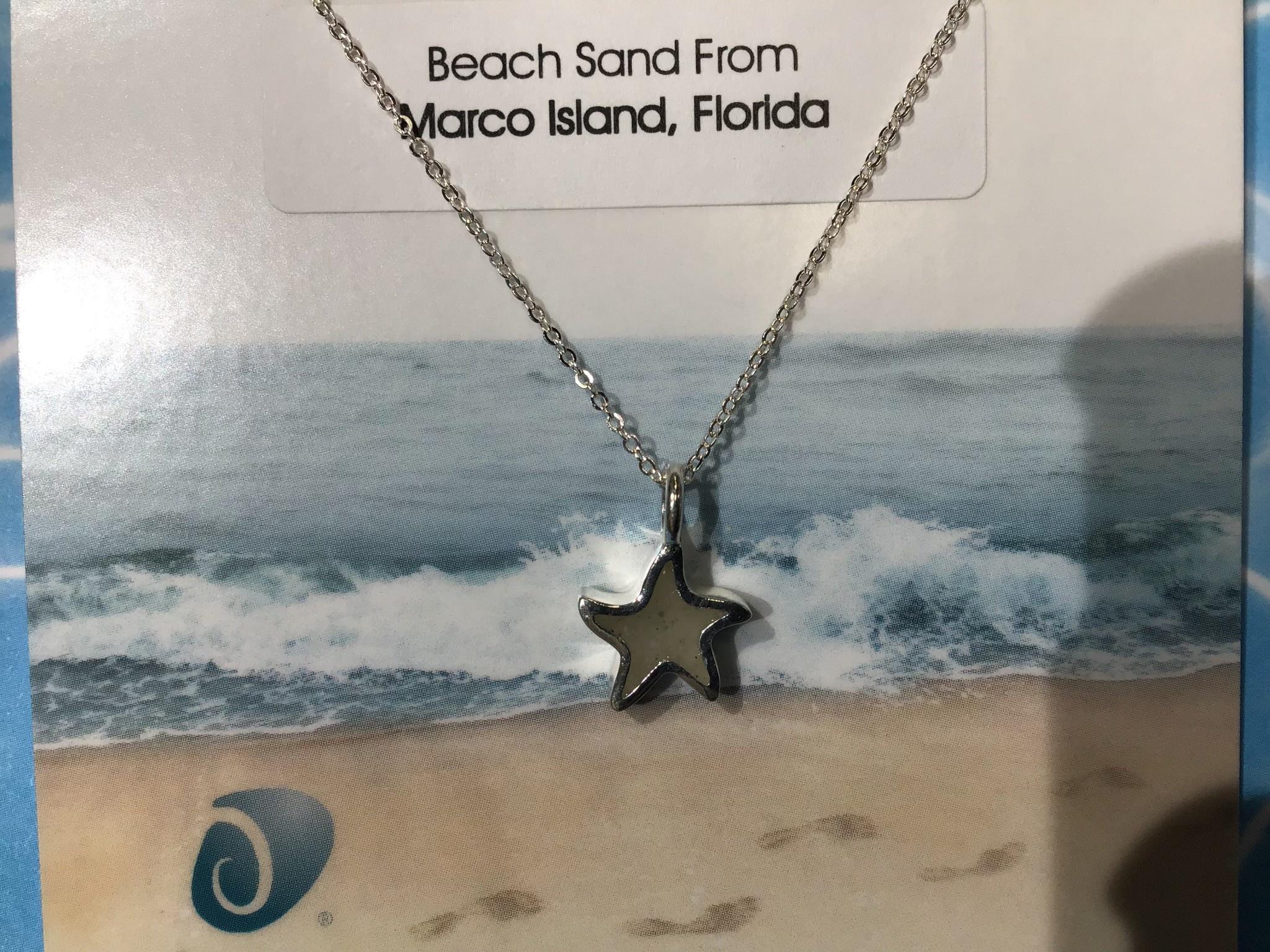 Sand Jewel Necklace Starfish Adj Turq