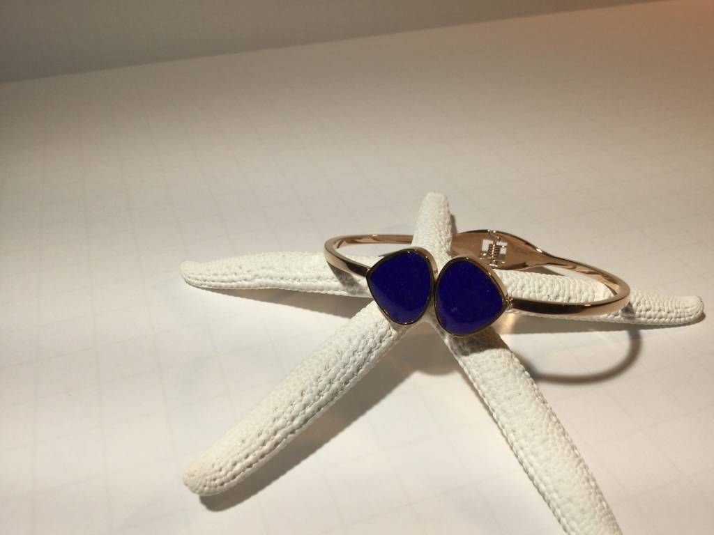 Lapis Teardrop Bangle Rose Gold 7.5