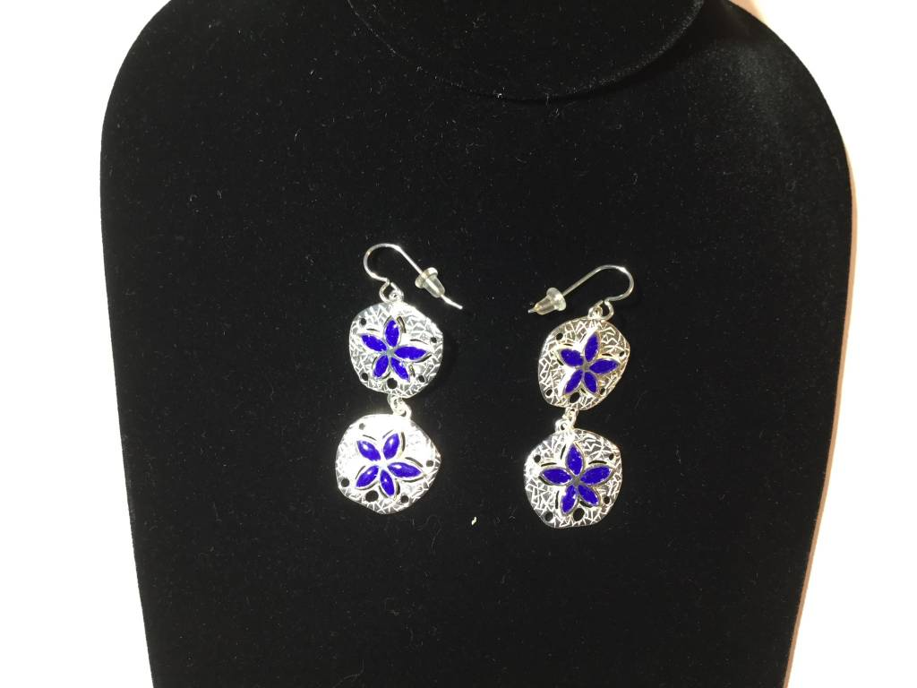Lapis Natural Sand Dollar Dble Drop Ears SS