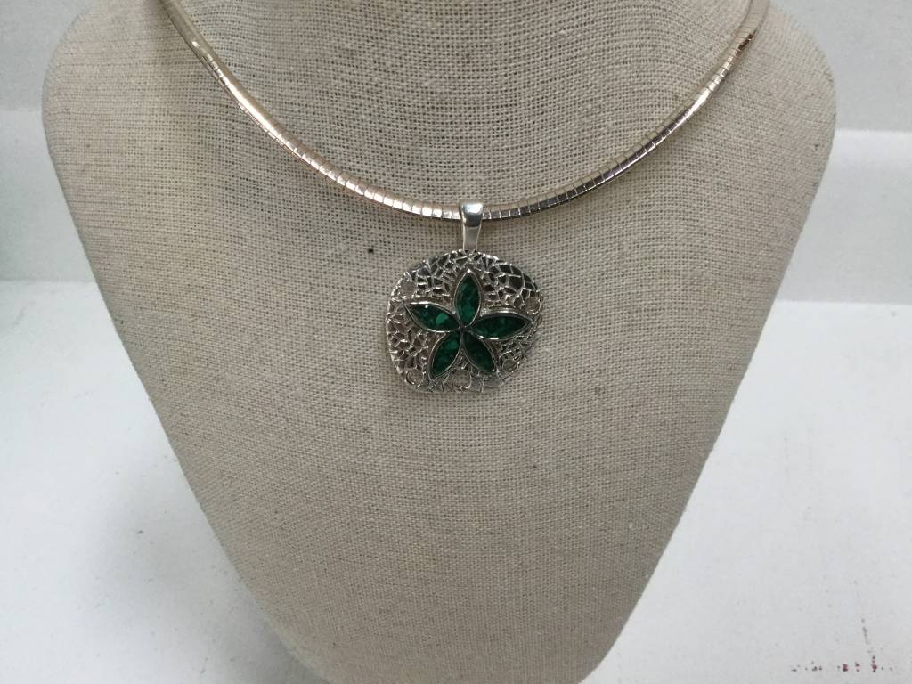 "Malachite Natural Sand Dollar Necklace 18"" Omega Chain"