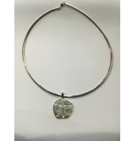 "Amozonite Natural Sand Dollar Necklace 18"" Omega Chain"