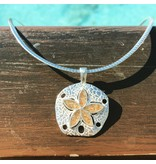 """Natural Sand Dollar Necklace SS  18"""" Omega Chain"""