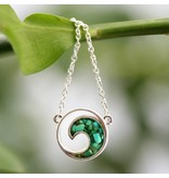 Malachite  Wave Stationary Necklace SS Adjustible Chain