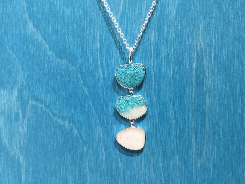 "B-Triple Drop Necklace Adj 16-20"" SS Turquoise Gradient & Marco Island Sand"