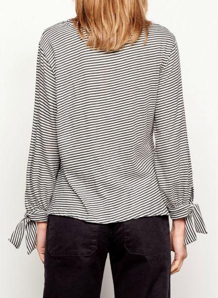 Sundry Stripes Tie Sleeve Top