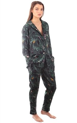 Plush Silky Jungle Print Pajama Set
