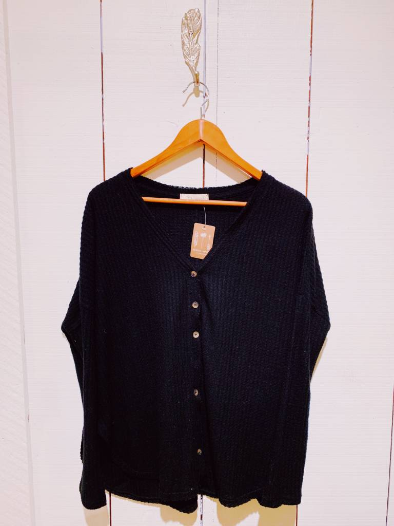 EM & ELLE Button Up Waffle L/S Shirt