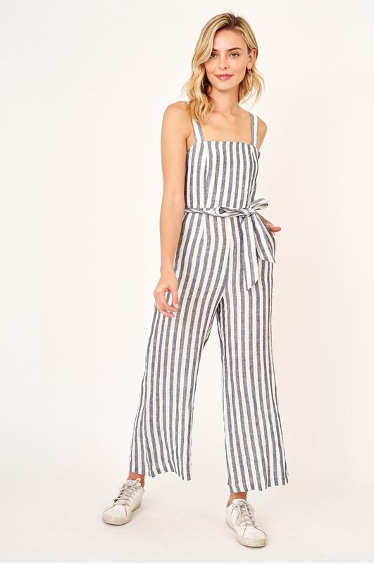 EM & ELLE Striped Cropped Jumpsuit
