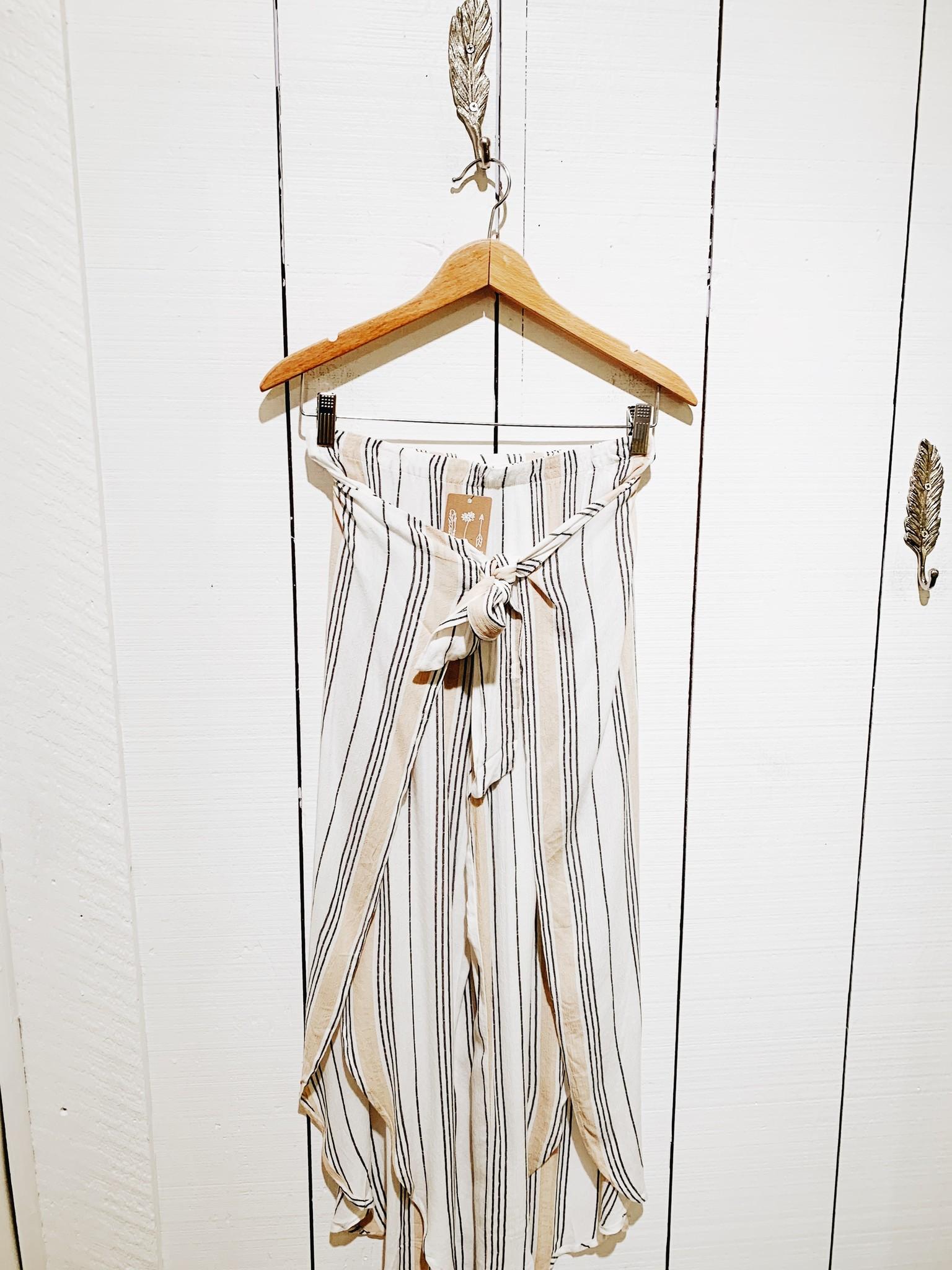 EM & ELLE Striped Wrap Pants