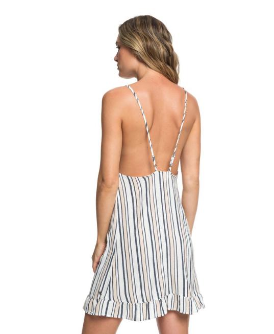 Roxy Golden Skin Stripe Ruffle Hem Strappy Dress