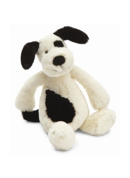 Jellycat Bashful Black/Cream Puppy Small