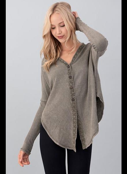 EM & ELLE Garment Dyes Button Up Top