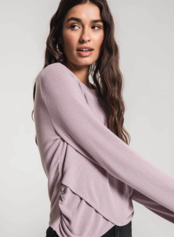 Z Supply The Soft Spun Rouched Long Sleeve Top