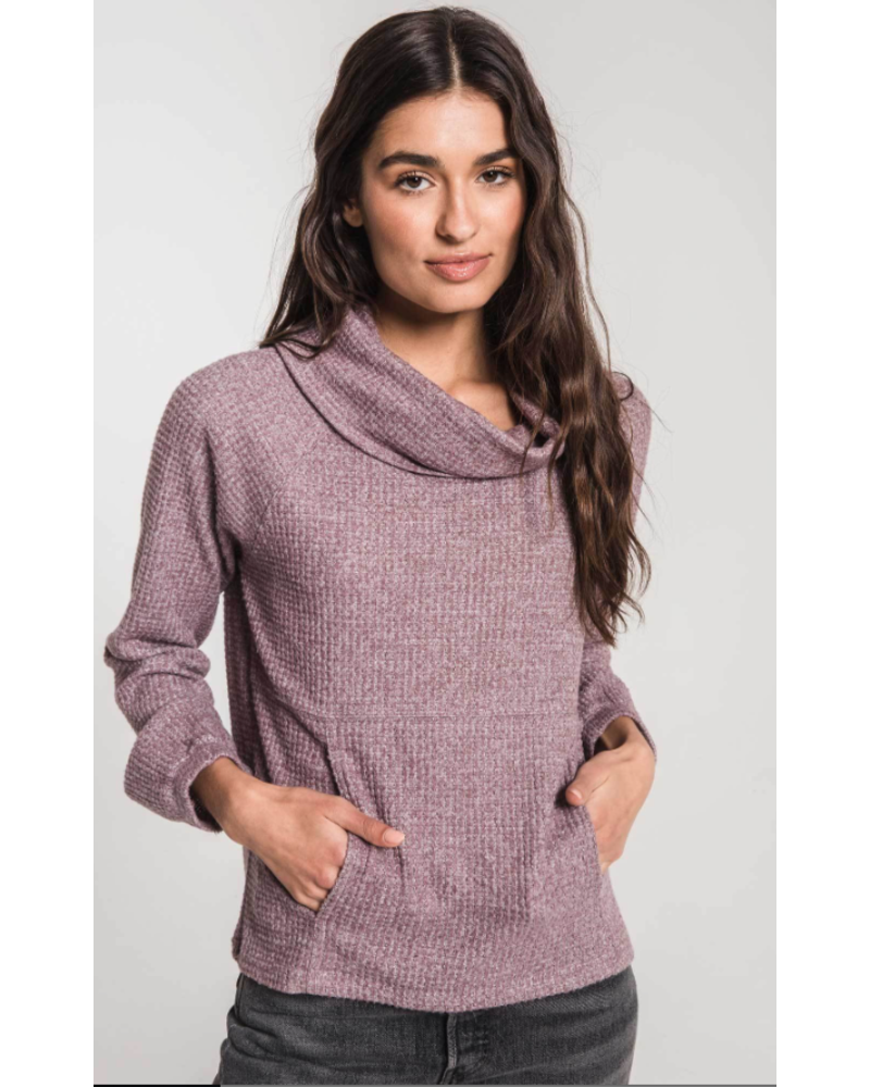 Z Supply The Waffle Thermal Cowl Neck Pullover