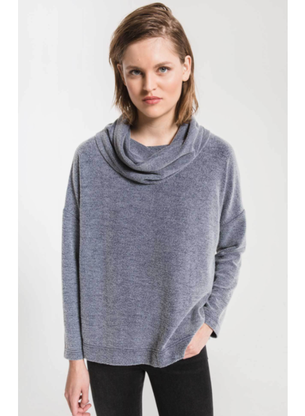 Z Supply The Fleece Scallop Back Cowl Neck