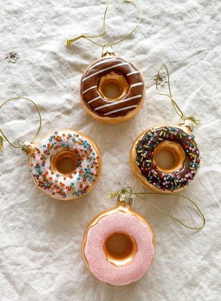 One Hundred 80 Degrees Boston Cream Donut Glass Ornament
