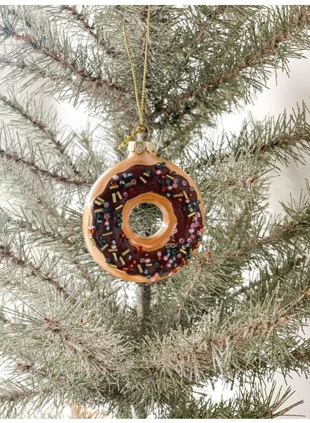 One Hundred 80 Degrees Chocolate Frosted w/Sprinkles Donut Glass Ornament