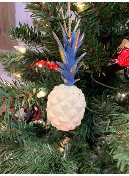 One Hundred 80 Degrees Ivory Pineapple Ornament