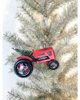 Kurt Adler Red Metal Tractor w/ Tree Ornament