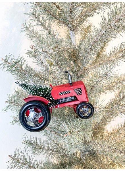 Kurt Adler Red Metal Tractor w/ Tree Ornament