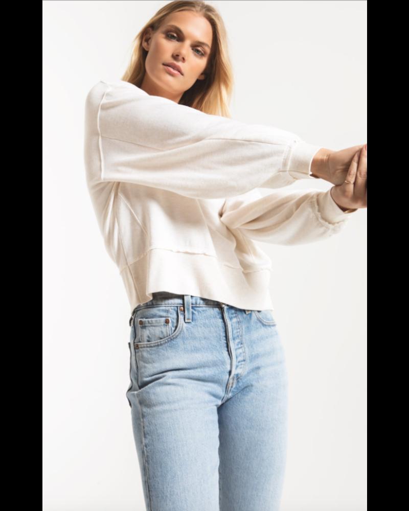 Z Supply The Premium Fleece Deep V Neck Pullover