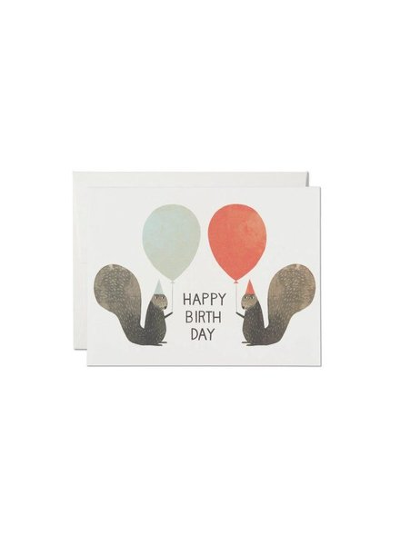 Red Cap Cards Party Squirrels Birthday Card