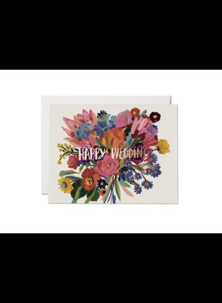 Red Cap Cards Happy Wedding Flowers