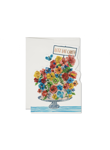 Red Cap Cards Flower Cake Card