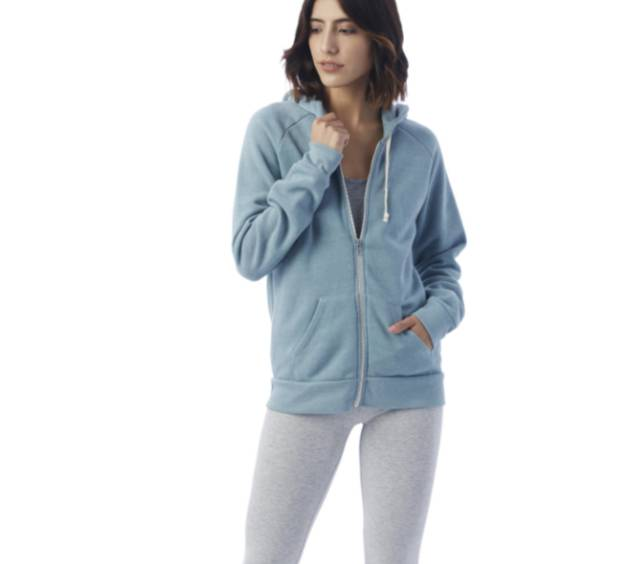 Alternative Apparel Eco Fleece cozy hoodie with zip front closure and hood drawstring