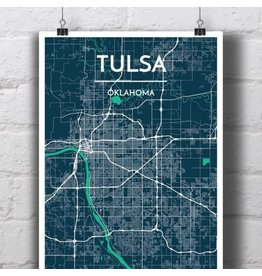 Point Two Design Tulsa 13x19 Map, Sapphire
