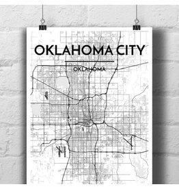Point Two Design Oklahoma City 13x19 Map, Black and White