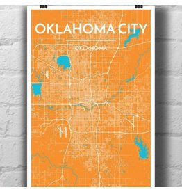 Point Two Design Oklahoma City 13x19 Map, Lightning