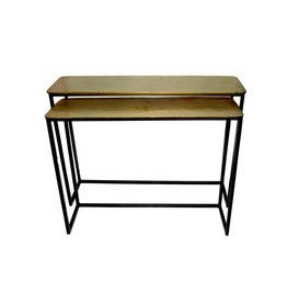 SET OF 2 ALUM. RAW BRASS CONSOLE TABLES