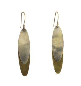 Halley Earrings- Oval, Brass & Silver
